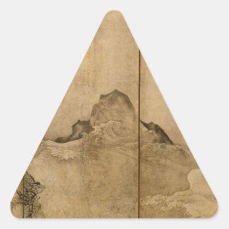 Japanese Ink on paper Gibbons Primates & Landscape Triangle Sticker