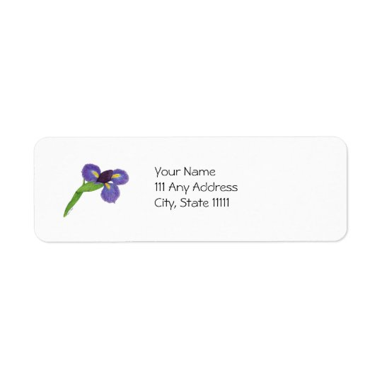 Japanese Iris Blossom Return Address Label