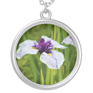 Japanese Iris Ensata Thunb Flowers Silver Plated Necklace