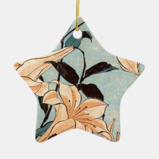Japanese Irises Ceramic Ornament