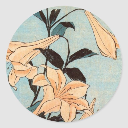 Japanese Irises Classic Round Sticker