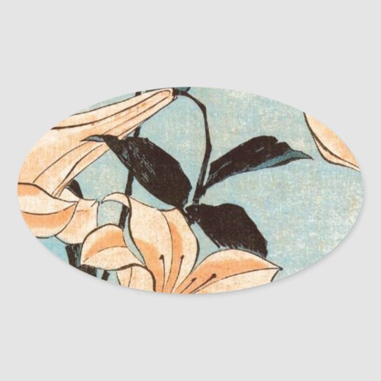 Japanese Irises Oval Sticker