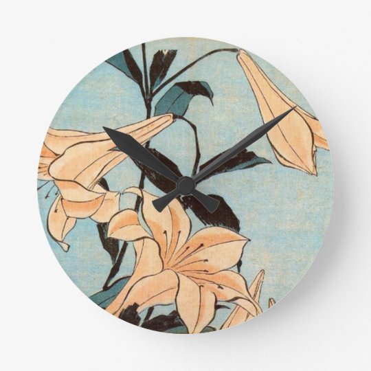 Japanese Irises Round Clock