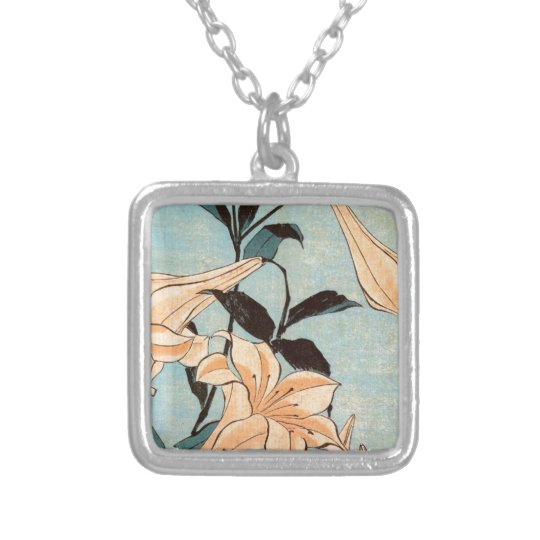 Japanese Irises Silver Plated Necklace