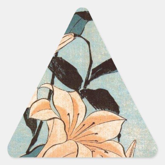 Japanese Irises Triangle Sticker