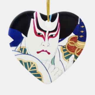 Japanese Kabuki Actor Art by Natori Shunsen 名取春仙 Ceramic Heart Ornament