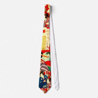 Japanese Kabuki Samurai Geisha Woodblock Art Print Tie