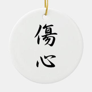 Japanese Kanji for Broken Heart - Shoushin Round Ceramic Ornament