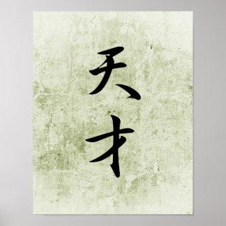 Japanese Kanji for Genius - Tensai Poster