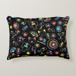 Japanese Kawaii Culture Doodles on Black Decorative Pillow