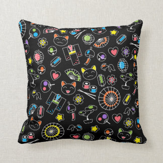 Japanese Kawaii Culture Doodles on Black Throw Pillow