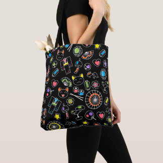 Japanese Kawaii Culture Doodles on Black Tote Bag