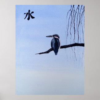 Japanese Kawasemi Kingfisher Feng Shui Water Poster