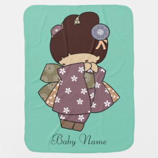 Japanese Kimono Girl Baby Blanket