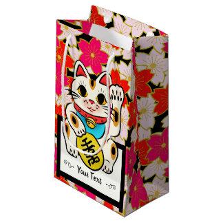 Japanese Kimono pattern Gift bag SAKURA Maneki Nek