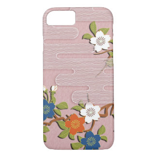 Japanese kimono pattern - mist and cherry blossoms iPhone 7 case