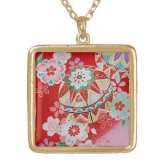Japanese KIMONO Textile, Floral Pattern Custom Necklace