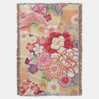 Japanese KIMONO Textile, Flower Throw Blanket