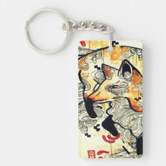 Japanese kitsune fox drawing, orange fox art keychain