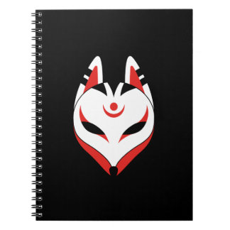 Japanese Kitsune Fox Mask on Black Spiral Notebook