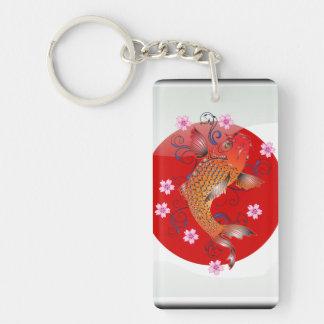 Japanese koi carp Double-Sided rectangular acrylic keychain