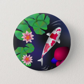 Japanese Koi Fish, Lotus Flowers & Water-lilies 2 Inch Round Button