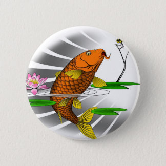 Japanese Koi Fish Pond Design 2 Inch Round Button