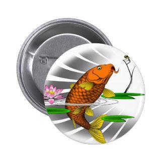 Japanese Koi Fish Pond Design 2 Inch Round Button