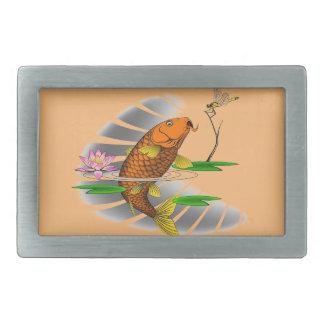 Japanese Koi Fish Pond Design Belt Buckle