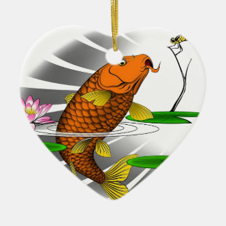 Japanese Koi Fish Pond Design Ceramic Heart Ornament