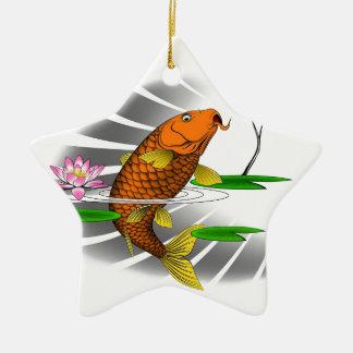 Japanese Koi Fish Pond Design Ceramic Star Ornament