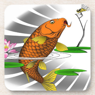 Japanese Koi Fish Pond Design Coaster