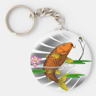Japanese Koi Fish Pond Design Keychain