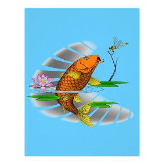 Japanese Koi Fish Pond Design Letterhead