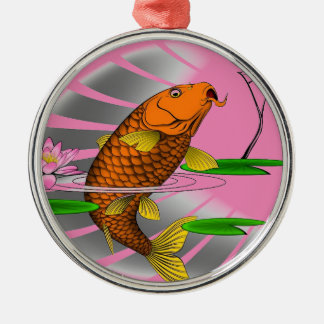 Japanese Koi Fish Pond Design Metal Ornament
