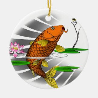 Japanese Koi Fish Pond Design Round Ceramic Ornament