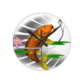 Japanese Koi Fish Pond Design Round Clock