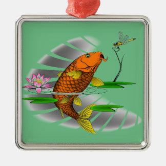 Japanese Koi Fish Pond Design Silver-Colored Square Ornament