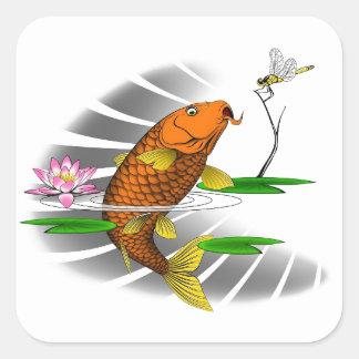 Japanese Koi Fish Pond Design Square Sticker