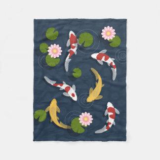 Japanese Koi Fish Pond Fleece Blanket