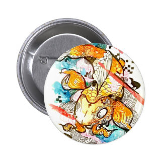 Japanese koi fish, watercolor art, aquatic art 2 inch round button