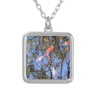 Japanese Koi Fish with Sky Reflection Silver Plated Necklace