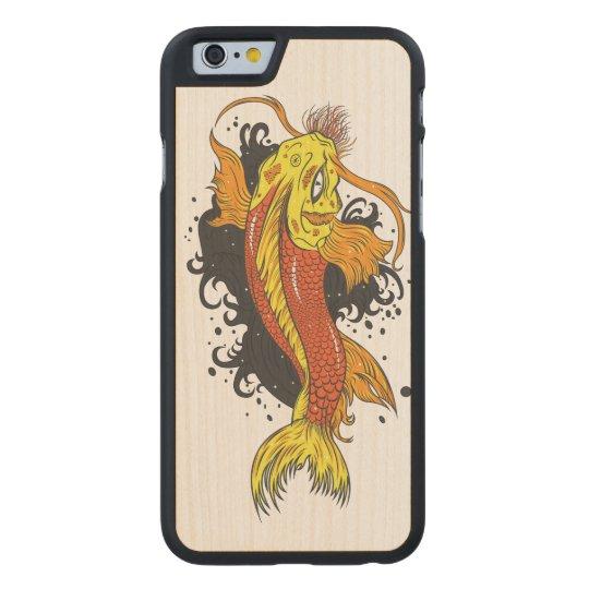 Japanese Koi Illustration Carved Maple iPhone 6 Case