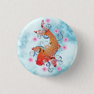 Japanese Koi on Blue Background 1 Inch Round Button