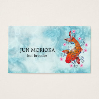 Japanese Koi on Blue Background Business Card