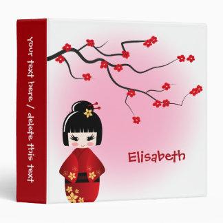 Japanese kokeshi doll at sakura blossoms 3 ring binders