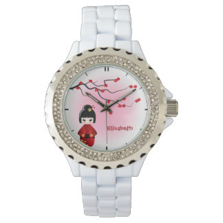Japanese kokeshi doll at sakura blossoms name wristwatches