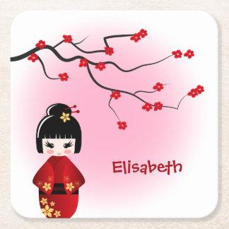 Japanese kokeshi doll at sakura girl name square paper coaster
