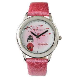 Japanese kokeshi doll at sakura name pink wrist watches