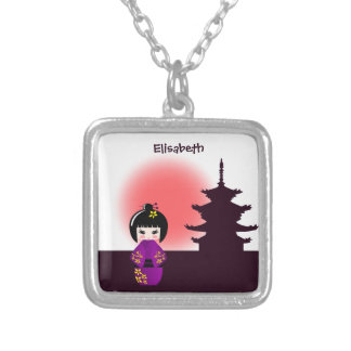 Japanese kokeshi doll at temple during sunset name silver plated necklace